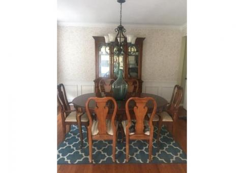 Dining table, chairs, china cabinet